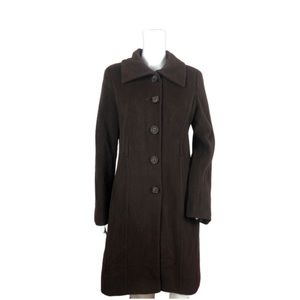 VIA SPIGA $498 Brown Wool Cashmere Coat